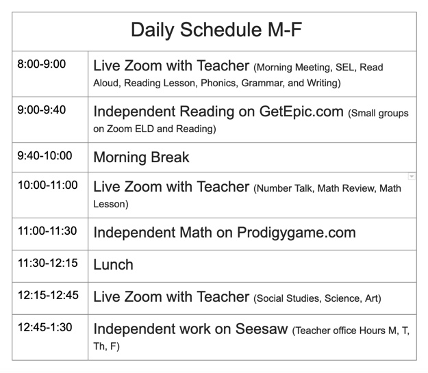 Mr. Hedges Daily Schedule